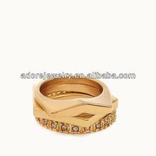 Women Accessories Gold Plating Rhinestone Ring Set