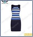 Mujer multicolor raya vendaje vestido- sin mangas vendaje vestido formal para las damas de oficina