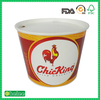 costom logo printed fried chicken bucket with paper lid take out