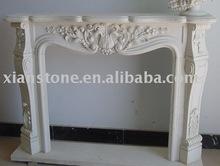 White marble masonry fireplace