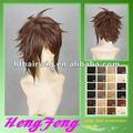 cosplay peruca de cabelo castanho encaracolado masculino sintético peruca cosplay cosplay masculino brown peruca de cabelo
