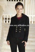 Luxury women short black Wool/Cashmere coat for winter