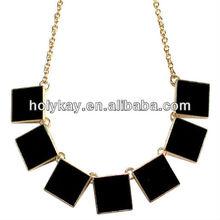 Wholesale fashion black enamel metal square necklace jewelry