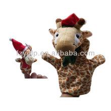 Christmas animal plush hand puppet,giraffe plush stuffed finger puppet for promotional gifts