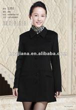 100% cashmere women's long black coat