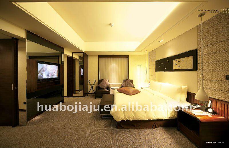 hotel bedroom set(Malaysia rubber wood E1MDF veneer)