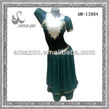 Green velvet chiffon ballet costumes stage dance wear