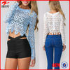 New arrivel women lace crop top/new fashion lace blouse designs