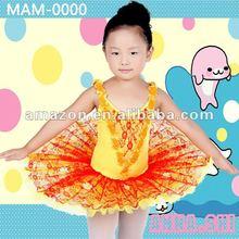 ANNA SHI 2015 hot selling yellow kid's jaquard ballet wear ballet tutu for children