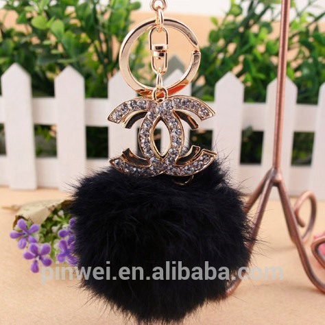 MOQ 12 pcs PayPal accepted 2014 Fashion handbag with rabbit fur charm rhinestone crystal metal alloy keychain SK2268