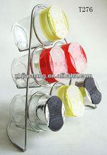 110ml colorful plastic cap oval glass cruet dining set