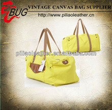 New Unique Cotton Canvas and leather Travel Bag Weekend Bag for ladies neon bags for teens girls