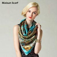 Fashion polyester scarf green women neck wear square handkerchief