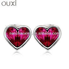 OUXI Diamond studded heart pendant Made with Swarovski Elements