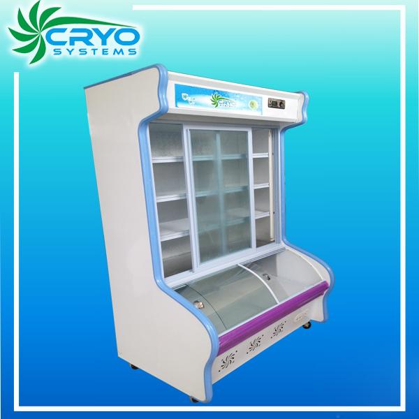 เชิงพาณิชย์ประตู4ด้านโดยด้านบนเปิดตู้เย็นและเครื่องทำความเย็นซูเปอร์มาร์เก็ตตู้แช่แข็งตรงบนล้อ