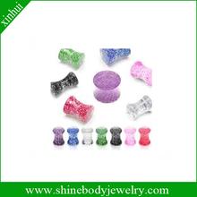 body piercing UV acrylic glitter ear plugs