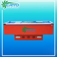 red colored commercial 2 doors upright restaurant kitchen cabinet refrigerator fridge refrigerated island freezer