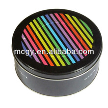 Fashion round empty metal round gift containers tin boxes