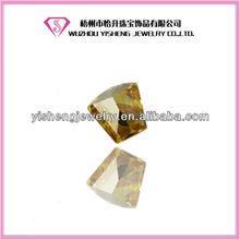 Faceted Fan Shape Yellow Loose Cubic Zirconia