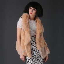 2014 autumn & winter lady rabbit & fox fur vest hooded