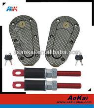 D1 Sanko Real Black Flat HOOD Mount Black Bonnet Pin With Keys Set Kit Universal