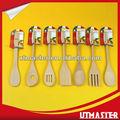 7 pz in legno utensili da cucina, strumentidicottura, legno utensili da cucina, forcella, cucchiaio, tornitore