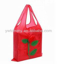 2014 wholesale china Red Rose Flower Folding Shopping Bag