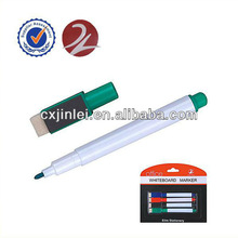 Small dry erase whiteboard marker with magnet and eraser