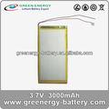 batería li-ion 3.7v 3000mAh para la tableta pc batería lipo de iones de litio