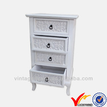 Tall design white 4 drawers solid wood pantry cabinet