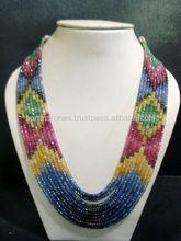 9-strand Multi Sapphire Gemstone Jewelry Necklace