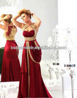 2014High Quality Cheap Ladies Party Long A-line Satin Burgundy Runway Draped Gold Embroidery Arabic Evening Dresses From Dubai