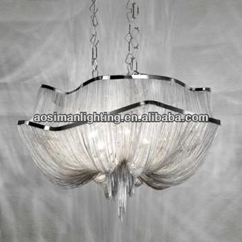 Atlantis Chandelier - Two Tier/ Silver Chain Chandelier Lighting/ Aluminum Chains