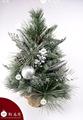 pulgadas 18 plateado de aguja de pino adornos decorado de lujo artificial y flexible del árbol de navidad en la bolsa de yute