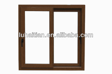 double sides laminated wooden color office sliding glass window