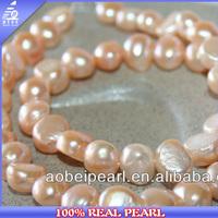 China 8-9MM Baroque Light Peach Natural multi colored pearl strands