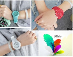 2014 perfect japan movement watch silicone band watch
