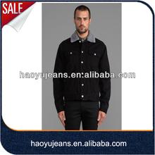 Men Thicken Fur Collar Black Denim Workwear Jacket (HYJ809)