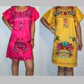 una variedad de mini bordado campesina mexicana con vestidos de manga corta de algodón regular mezclas vestido de verano