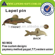 Custom Fish Shape Lapel Pin with Epoxy