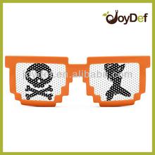 Fashionable Neon Orange Plastic 8-bit Pinhole Pixelated Sun glasses China Wholesale Pixel Pinhole Sunglass