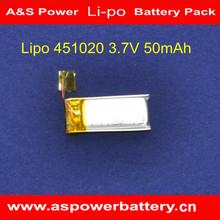 451020 3.7V 55mAh lipo rechargeable small battery
