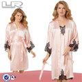 laço de seda longa camisola transparente noite vestido para a menina de seda vestido de noite