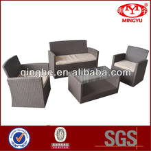 Outdoor garden living room hot sell 4pcs K/D PE rattan outdoor/living room sofa with cushion