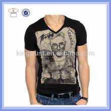 2015 Custom printing men's T-shirt ,100% Cotton v neck t shirts , printed t shirts men, t-shirt wholesale China