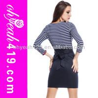 Wholesale navy fashion blue white striped short dress