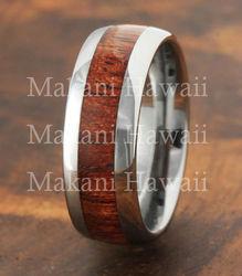Hawaiian Koa Wood Inlaid Tungsten Wedding Ring