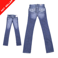 (#TG589W) Stretch jeans fabric metallic embroidery pocket design good price 2014 new style fashion women jeans
