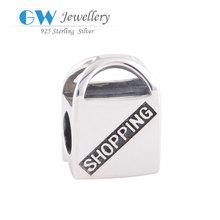 Silver Shopping Bag Bead Fit DIY 925 European Sterling silver Bracelet Making