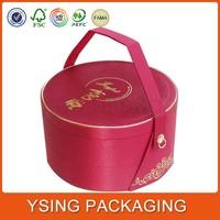 Custom made circle shape cardboard box carry handle